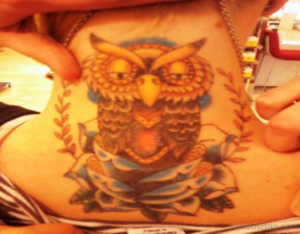 Owl Tattoo On Neck Back