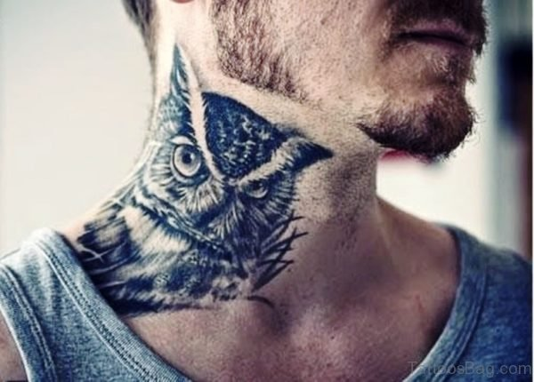 Owl Tattoo On Neck For Men