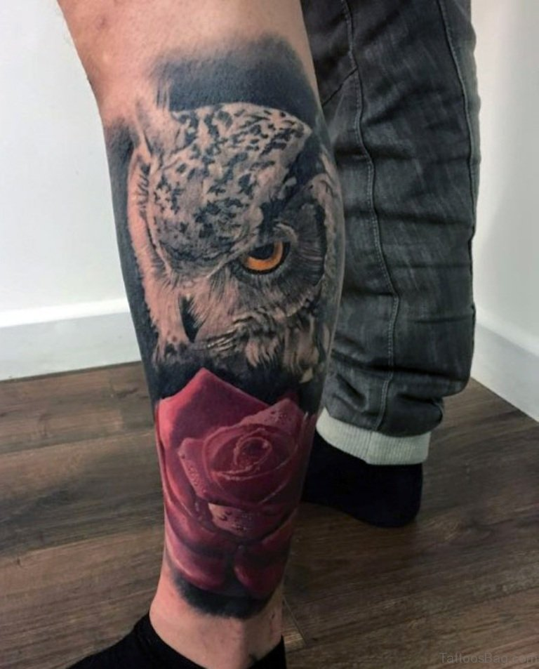 Tattoo Designs Legs: 73 Elegant Owl Tattoos On Leg