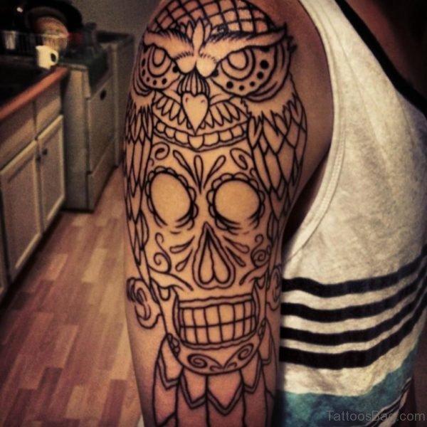 Owl With Skull Outline Tattoo On Shoulder