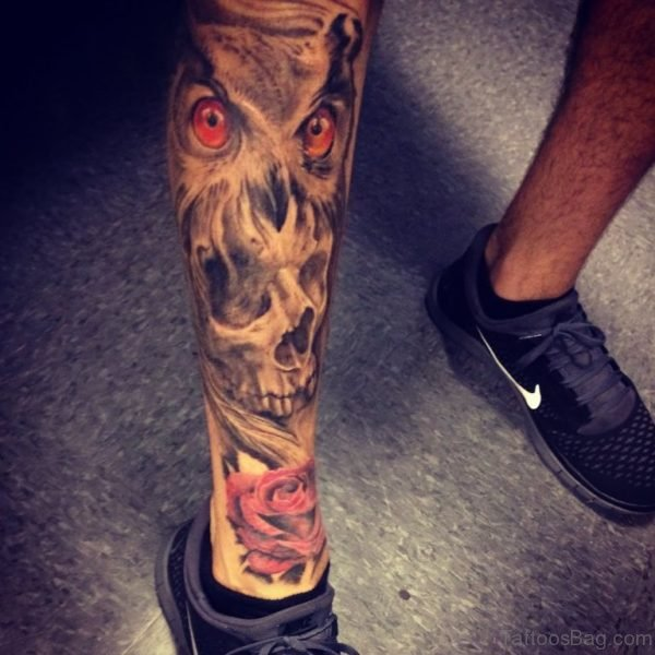 Owl With Skull Tattoo On Leg