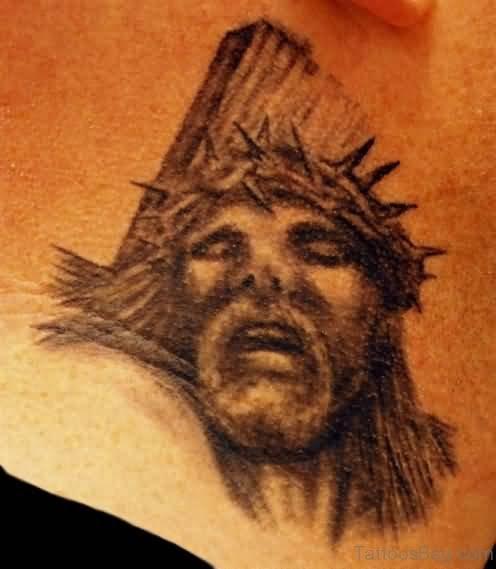 Painful Jesus Tattoo On Neck