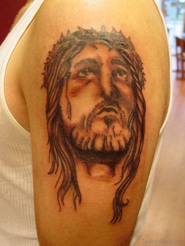 Painful Jesus Tattoo On Shoulder