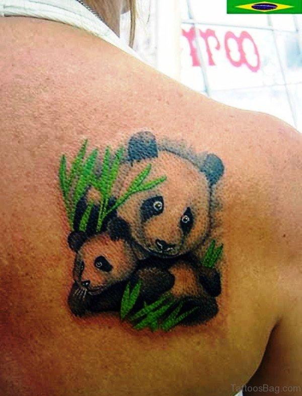 Panda And Baby Shoulder Tattoo