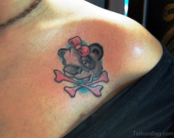 Panda Head Tattoo On Front Shoulder