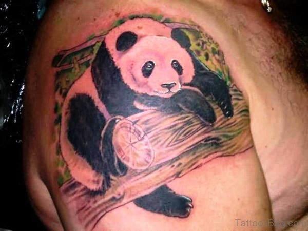 Panda In Wood Shoulder Tattoo