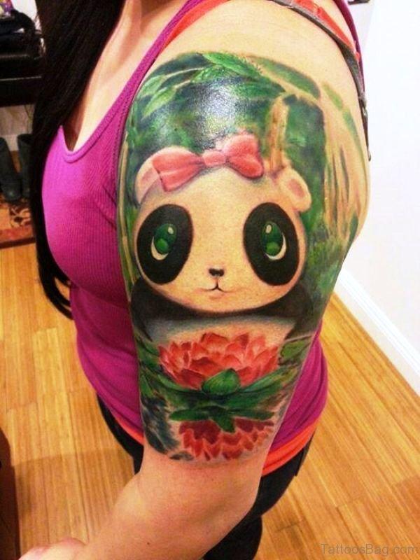 Panda Tattoo On Left Shoulder