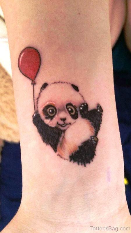Panda With Balloon Tattoo On Wrist