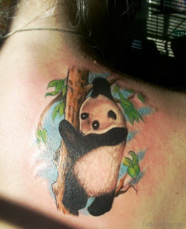 Panda With Tree Shoulder Tattoo