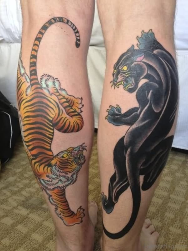 Panther And Tiger Tattoo On Both Leg Calf