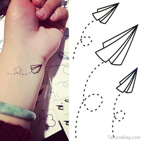 Paper Plan Wrist Tattoo