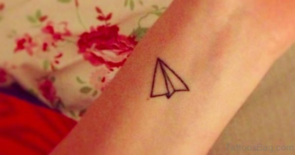 Paper Plane Tattoo On Wrist