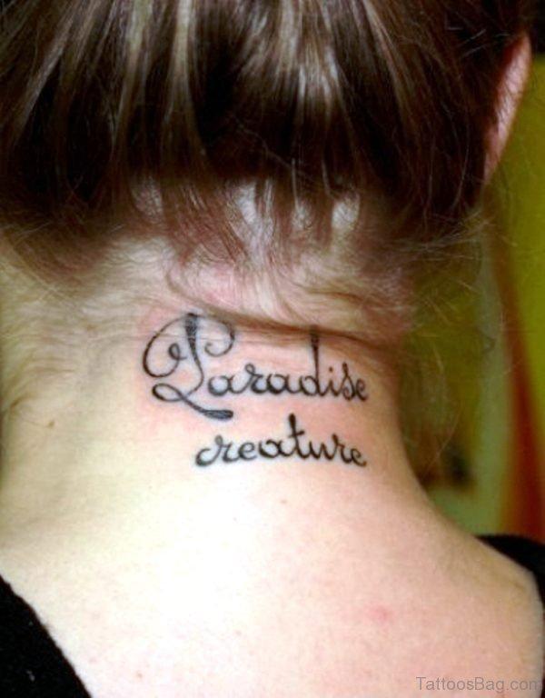 Paradise Letter Neck Tattoo
