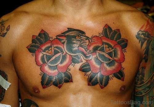Pather And Rose Tattoo On Chest