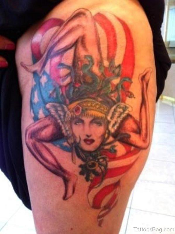 Patriotic Sicilian Medusa Tattoo On Thigh