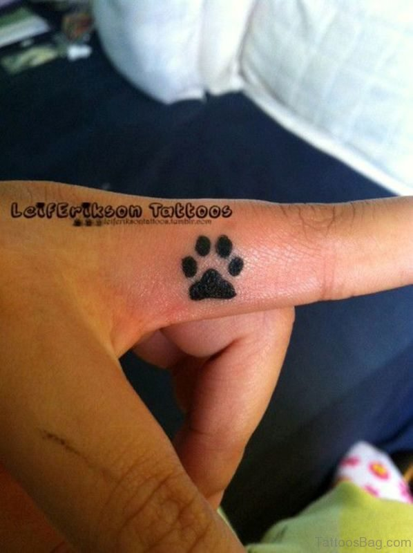 Paw Tattoo On First Finger