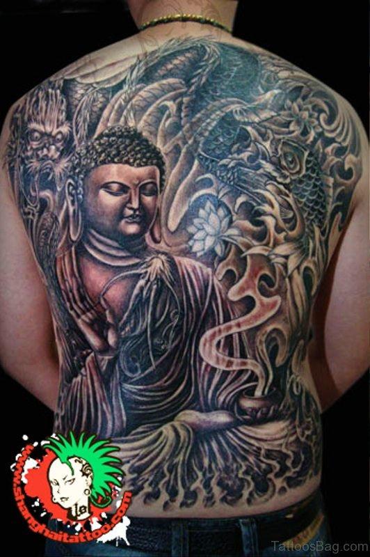 Peace Buddha Tattoo With Dragon