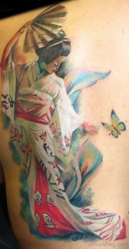 Peaceful Geisha Tattoo On Back