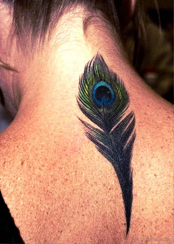 Peacock Feather On Neck Tattoo