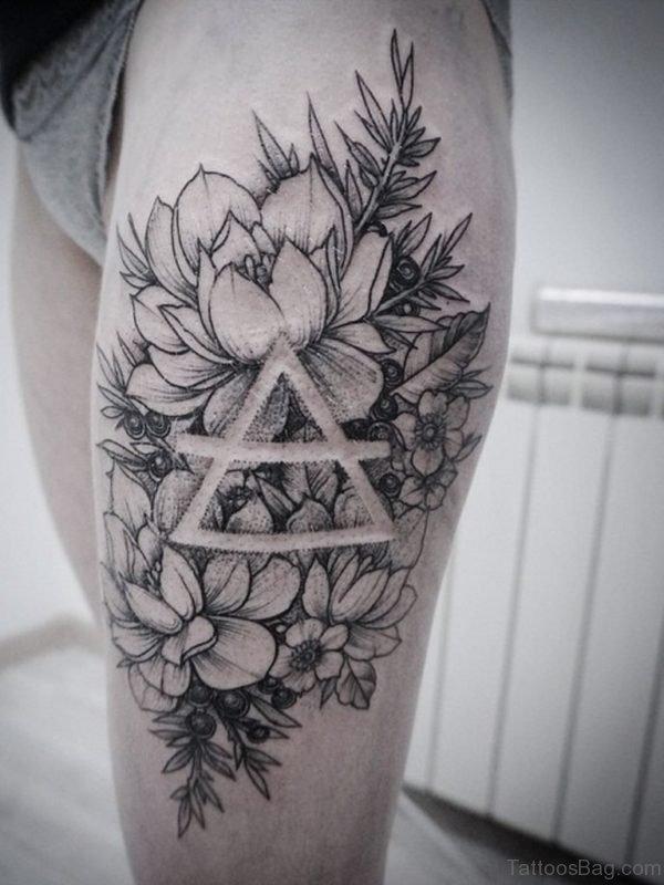 Peony Flowers Tattoo On Girl Left Thigh