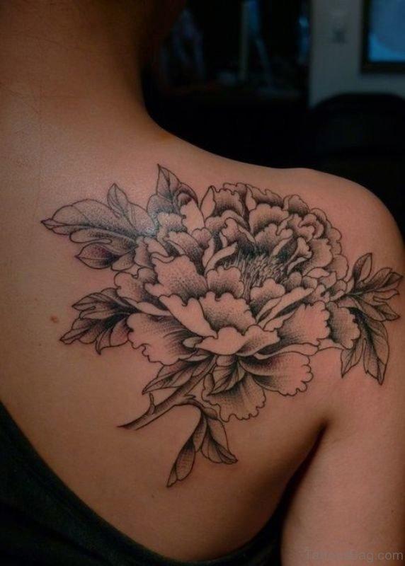 Peony Shoulder Blade Tattoo Design