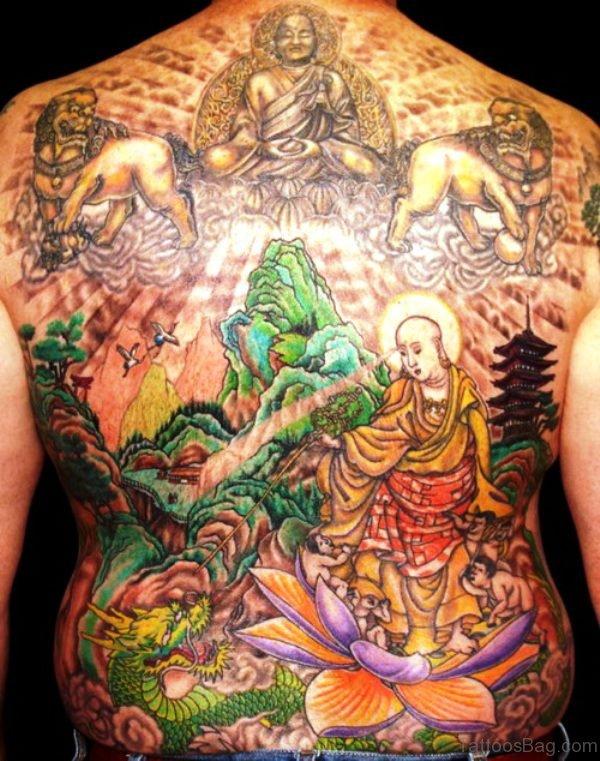 Perfect Buddha Tattoo On Back