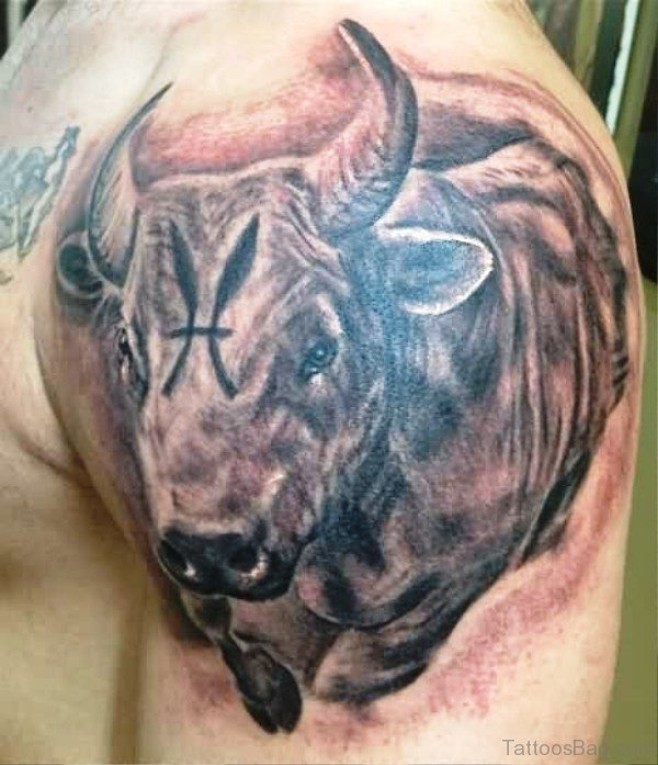 Perfect Bull Tattoo On Shoulder