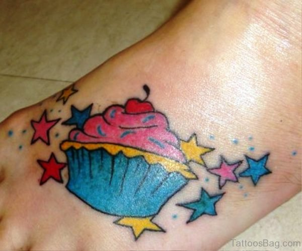 Perfect Cupcake Tattoo On Foot