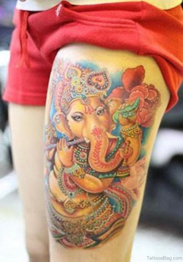 40 god ganesha tattoos on thigh for Ganesh tattoo pictures