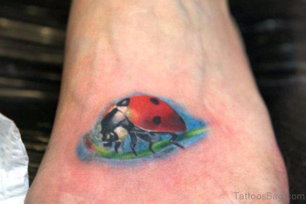 Perfect Ladybug Tattoo On Foot