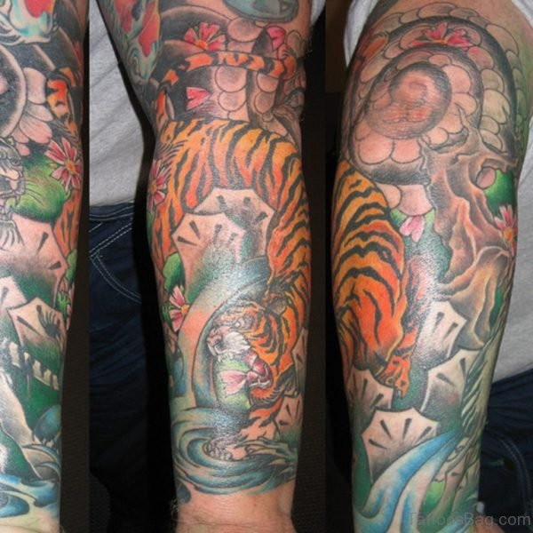 Perfect Tiger Tattoo On Full Sleeve
