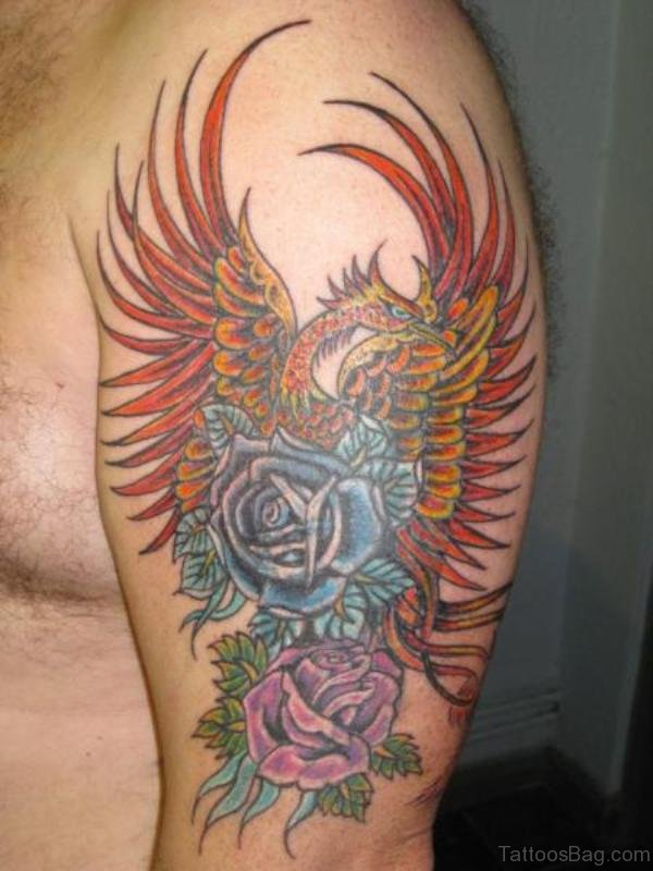 Phoenix And Roses Tattoo