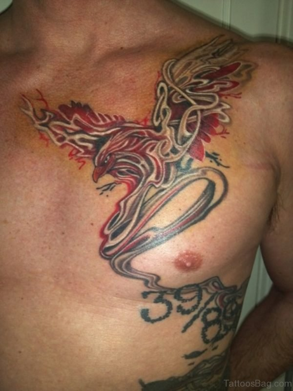 Phoenix Color Ink Tattoo On Chest