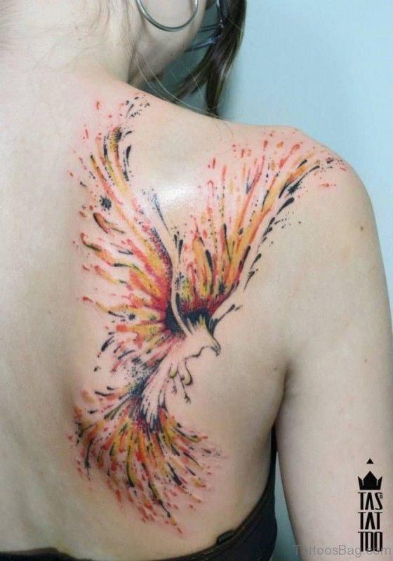 Phoenix Shoulder Tattoo On Right Shoulder