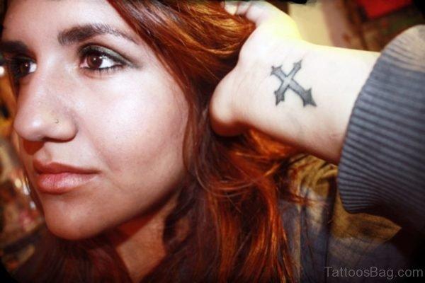 Photo Of Cross Tattoo On Wrist