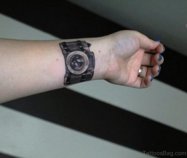 Photography Camera Tattoo On Wrist