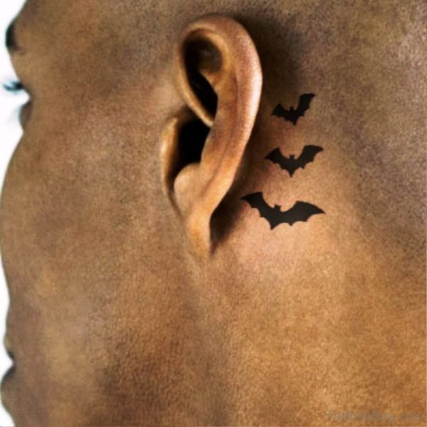 Pic Of Bats Tattoo Behind Ears