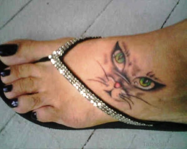 Pic Of Cat Tattoo On Foot