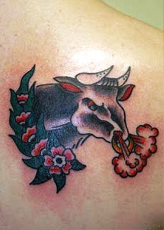 Picture Of Angry Bull Tattoo On Back