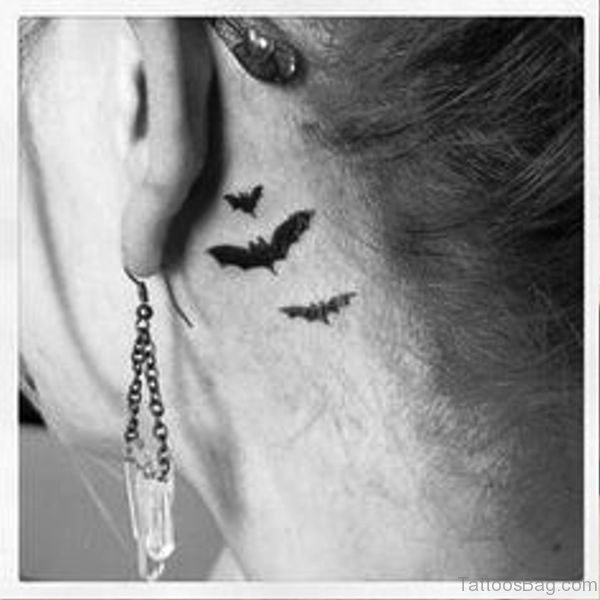 Picture Of Bats Tattoo Behind Ears