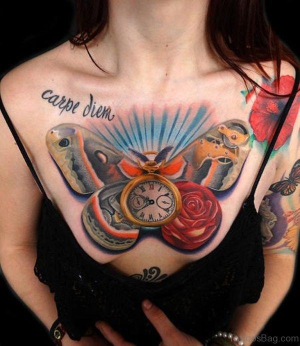 Piece Clock Rose and Moth Tattoo