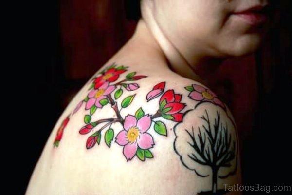 Pink And Rose Flower Tattoo On Shoulder