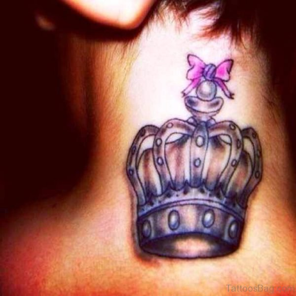 Pink Bow Tattoo With Crown
