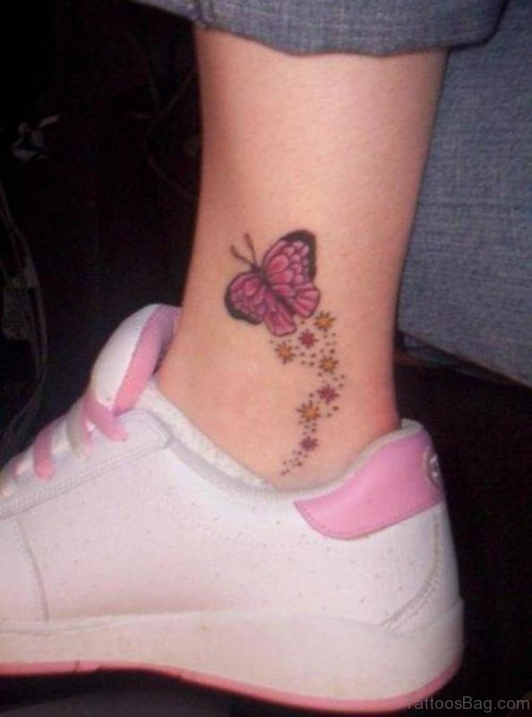 Pink Butterfly Tattoo On Ankle
