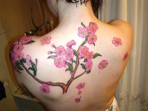 Pink Cherry Blossom Tree Tattoo On Shoulder