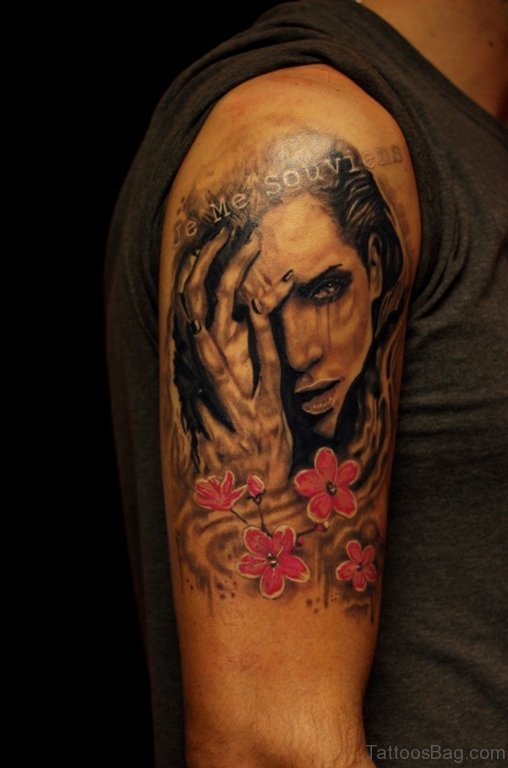 Pink Flower And Portrait Girl Tattoo