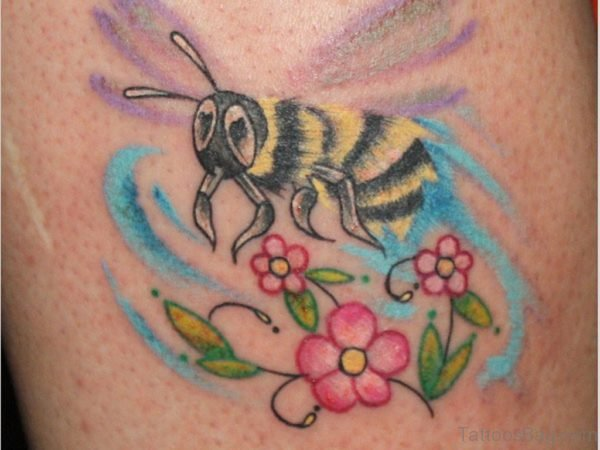 Pink Flowers And Bee Tattoo