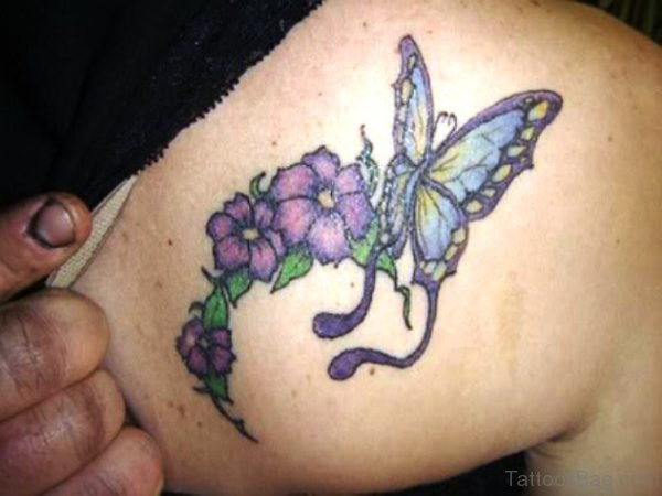 Pink Flowers And Butterfly Tattoo