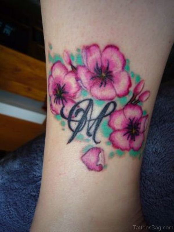 Pink Flowers Tattoo For Leg