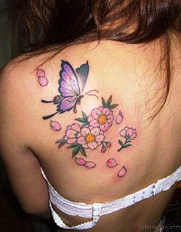 Women Butterfly Flower Tattoos